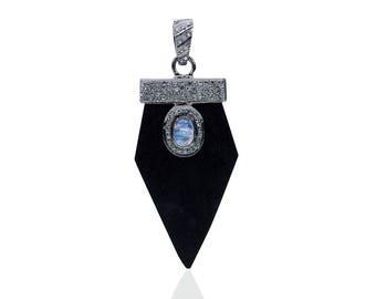 Diamond Bone Pendant with Moonstone