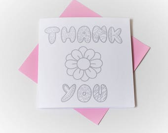 colouring|children|thank you card|flower|handmade|card for her|blank greetings card