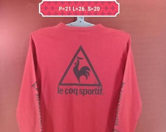 Vintage Le Coq Sportif Shirt Long Sleeve Big Logo Shirt Red Colour Size L Fila Shirts Nike Shirts Sportwear
