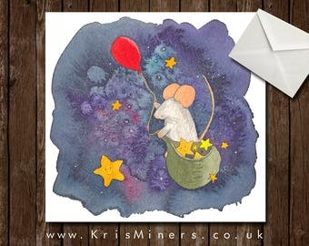 Whimsical Space Greetings Card - Galaxy Mouse
