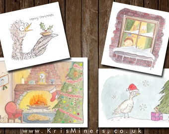 Whimsical Christmas Greetings Card 12 Pack - Unique Designs - by Kris Miners