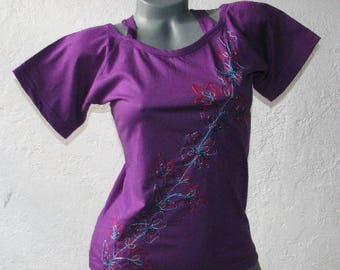 Hand Made Embroidered Open Shoulder Boho Hippie PURPLE