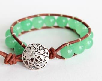 Green Aventurine Beaded Leather Bracelet, Single Wrap Bracelet, Boho Wrap Bracelet, Beaded Wrap Bracelet Leather, Wrap Leather Bracelet