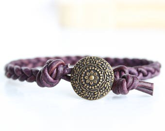 Dark Purple Braided Leather Bracelet, purple leather braided bracelet, boho bracelet, leather wrap bracelet, single wrap leather bracelet