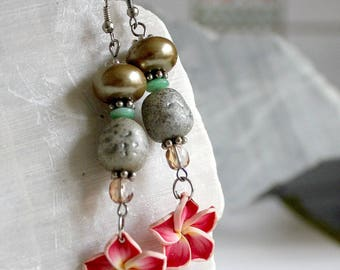 Polymer clay and Pearl Flower Earrings