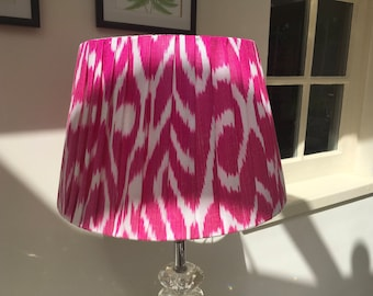 "Pink white silk ikat lampshade 14"" base"