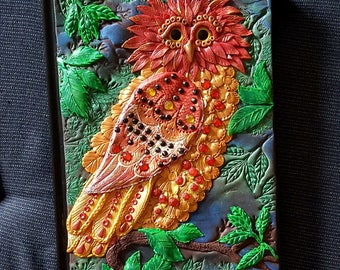 Exotic Owl, Polymer Clay, Book Cover,owl journal, Journal ,woodland owl, owl notebook,ooak , clay art, polymerclay book cover.
