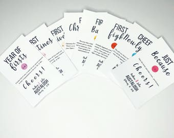 Year of Firsts Wine Tags - Milestone Wine Labels - Set of 6 Gift Set - Wedding Gift - Gift Basket Tags - Bridal Shower -First Year Milestone