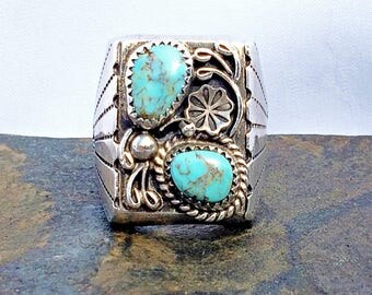 Vintage Silver Reeves Navajo Native American Indian Turquoise Ring