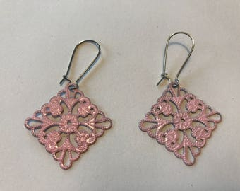 Painted Lightweight Filigree Earrings - Pink 1 x 1 inch