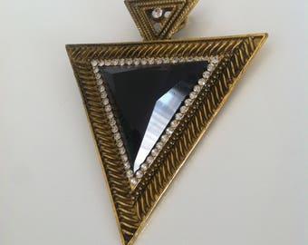 Tribal Aztec Crystal Gemstone Sparkle Gold Tone Pendant