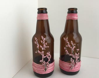 Brown Bottle with Pink Embellishments
