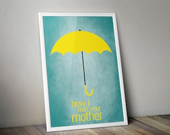How I Met Your Mother Minimalist Print, TV Show Poster Print, How I Met Your Mother Wall Art, Yellow Umbrella Minimalist Art Print.