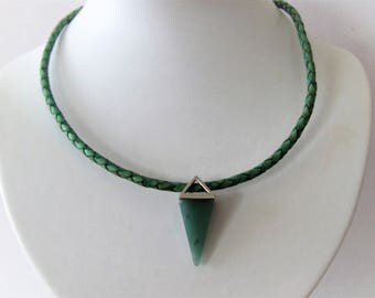 Green leather necklace with amazonite pendant