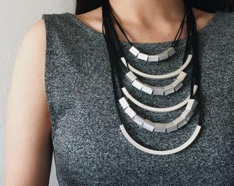 Futuristic Silver Beads Layered Multi-Strand Necklace