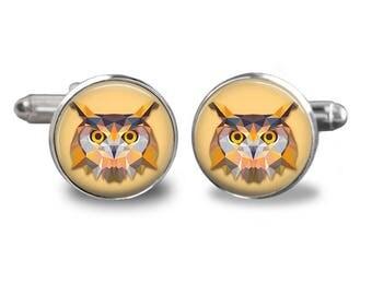 Owl cufflinks bird cufflinks animal cufflinks owl lover gift mens cufflinks glass cufflinks silver cufflinks mens cuff links