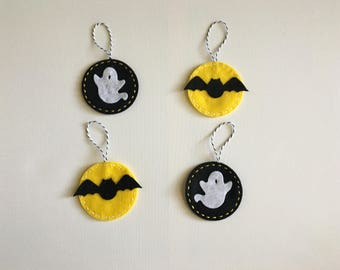 Bat & Ghost Halloween Ornaments