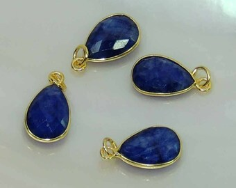 blue sapphire 22k gold plated 925 sterling silver charms&pendants