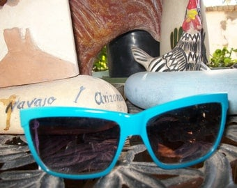 Teal 1950's/1980's style Angled Cat-Eye Sunglasses