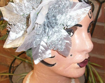 Silver Poinsettia Holiday Hair Piece
