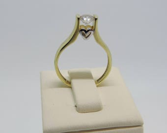 Zircon stone and heart ring , 14k gold-shiny passion-2,5gr