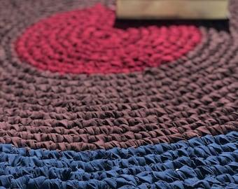 44 inch Wine Round Crocheted Round Rag Rug