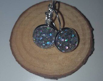 Glittery pair of Stirling Silver dangles.