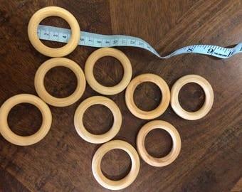 Oiled teething rings wooden rings, teething rings, smooth teething rings, 55mm teething ring