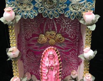 Nicho, Retablo, Altar, Religious Shrine, Shadow Box, Altered Art Shrine, Religious Art, Table Top Decor, Mixed Media Art