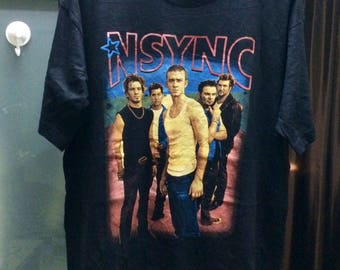 "Pop Band NSYNC Bootleg T-Shirt /Size XL 23.5"" /Free Shipping/ Nsync Boy Group Band Pop 90S Culture  Style Raptee Bootleg Hiphop Street"