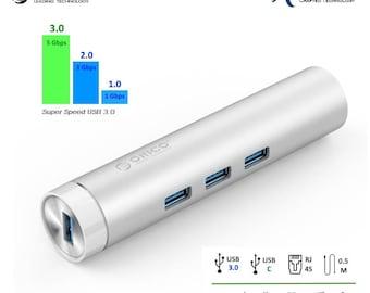 Aluminum 4 Port USB3.0 Hub with RJ45 Ethernet Port