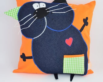 cat pillow -  decorative cushion/orange throw pillow/home decor/pillow friend/gift for mom/pillowcase