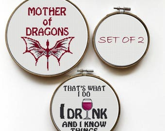 Game of Thrones cross stitch pattern set of 2, Game of Thrones quote, Mother of Dragons gift, Dragons cross stitch Tyrion quote cross stitch
