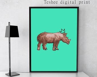 Rhinoceros, Rhino, Printable art, Home decor, Wall decor, Wall art, Instant download jpg file, Digital art