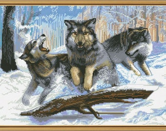 """Cross Stitch Kit with white canvas """"Wolves on the hunt"""", Cross Stitch Set, Wall Decor, Home Decor, Embroidery, Handmade Idea Gift"""