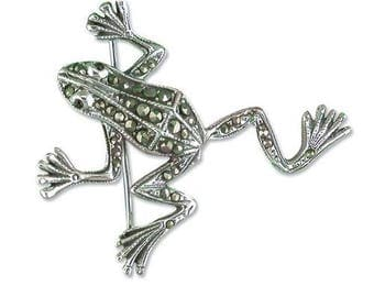 Marcasite Frog With Garnet Eyes Sterling Silver Brooch