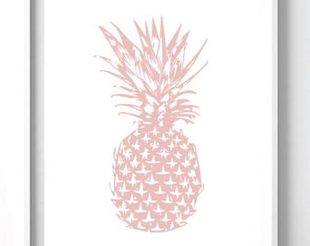Pink Pineapple Silhouette Wall Print