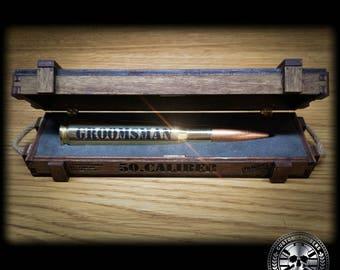 Handmade Bespoke engraved gift box for Custom Calibers 50 Cal BMG Bullet Bottle Opener.