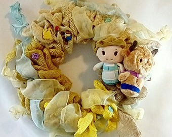 Disney Themed Wreath Beauty and the Beast with Belle and Beast buttons