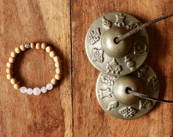 Quartz Yoga bracelet pink and wooden beads