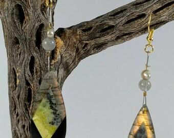 Labradorite Obsidian and Serpentine Earrings