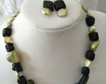 Lava Stone,  Jade and Freshwater Pearl necklace and matching earrings.