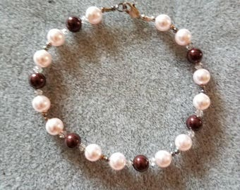 7.25 inch bracelet in Swarovski pearls and crystals and Sterling silver beads