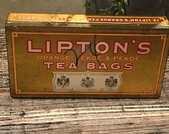 Vintage Lipton Tea Bags metal Tin held 12 orange Pekoe & Pekoe tea bags - empty