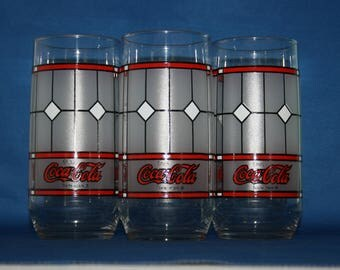 Vintage Set of Three Official Coca-Cola Stained Glass Window Panel by Libbey Glass