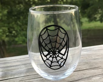 Spider Man Themed Stemless Wine Glass