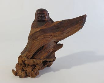 RARE Vintage Hand Carved Wooden Buddha