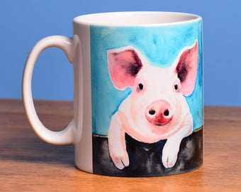 Pig - a cute ceramic mug from artist's original image