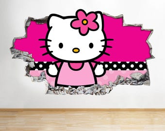 H060 Hello Kitty Cute Girls Kids Wall Decal Poster 3D Art Stickers Vinyl  Room Kids Bedroom