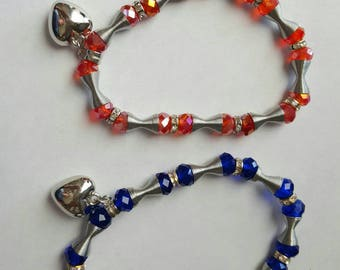 Orange and royal blue with silver heart charm